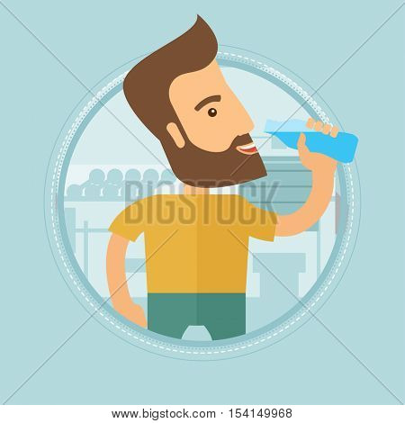 Sportive hipster man with the beard drinking water. Man with bottle of water in the gym. Sportsman drinking water from the bottle. Vector flat design illustration in the circle isolated on background.
