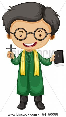 Preist with holy cross and bible illustration