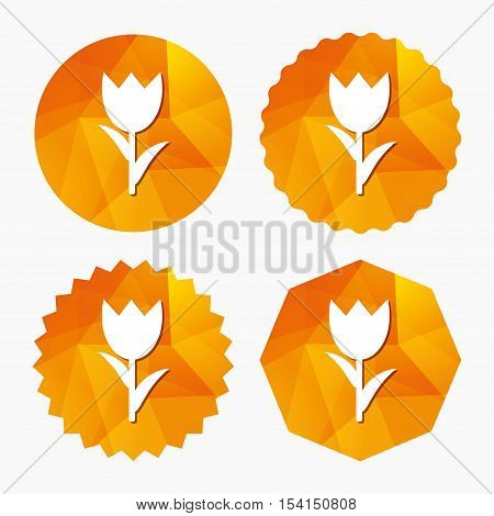 Flower sign icon. Rose symbol. Macro. Triangular low poly buttons with flat icon. Vector