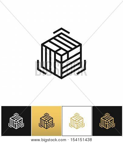 Block or cube 3D structure vector icon. Block or cube 3D structure program on black, white and gold background