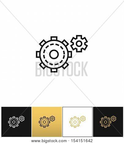 Cogwheels symbol or cog gears line vector icon. Cogwheels symbol or cog gears line program on black, white and gold background