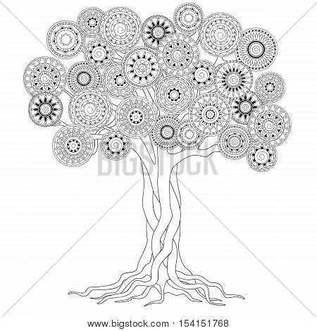 hand drawn decorated tree of mandalas in boho ethnic style. Image for antistress adult coloring book decorate bags tunics dress. eps 10.
