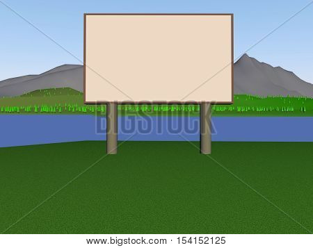 Image billboard (screen) on the background of the lake, mountains, trees. 3d render.