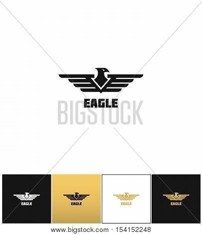 Eagle logo or falcon emblem vector icon. Eagle logo or falcon emblem program on black, white and gold background