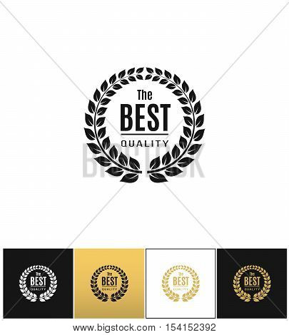 Floral wreath logo ot best design label vector icon. Floral wreath logo ot best design label program on black, white and gold background