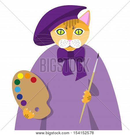 Red cat in the painter's suit with paints and brush isolated on white background, vector illustration