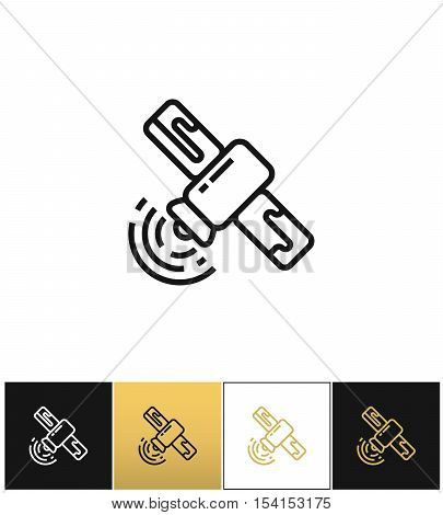 Satellite line sign or broadcasting linear vector icon. Satellite line sign or broadcasting linear program on black, white and gold background