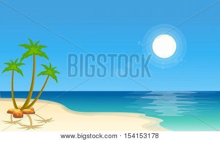 Cartoon beach scenery collection stock vector illustration