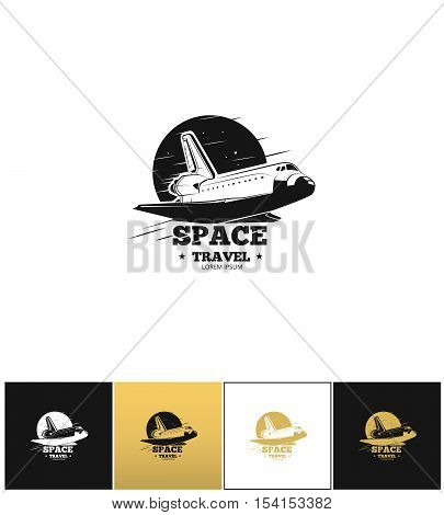 Shuttle logo or space travel vector icon. Shuttle logo or space travel program on black, white and gold background