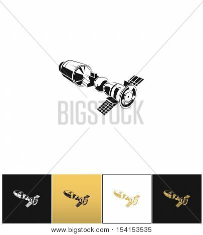 Space station vector icon. Space station program on black, white and gold background