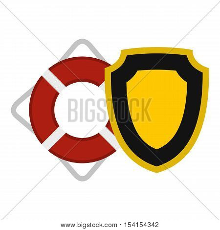 Lifebuoy and shield icon. Flat illustration of lifebuoy and shield vector icon for web