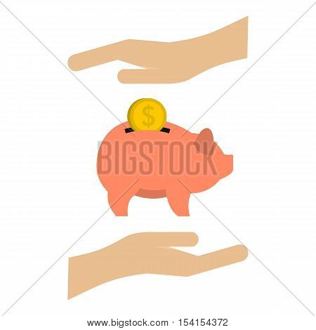 Money box icon. Flat illustration of money box vector icon for web