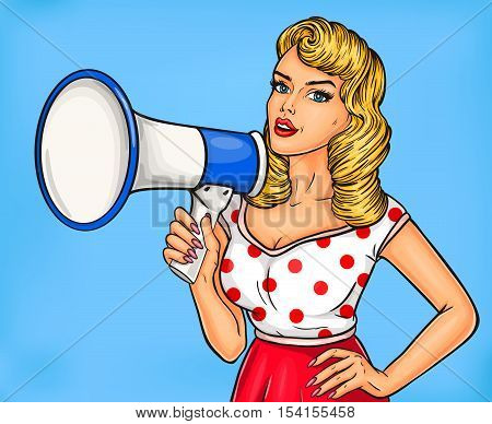 Vector illustration pop art girl with megaphone announce discounts and sales