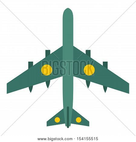 Military aircraft with missiles icon. Flat illustration of military aircraft with missiles vector icon for web