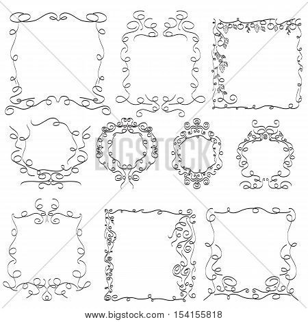 hand drawn frames design for decoration your style