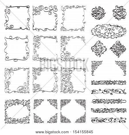 hand drawn frames illustration design for decor