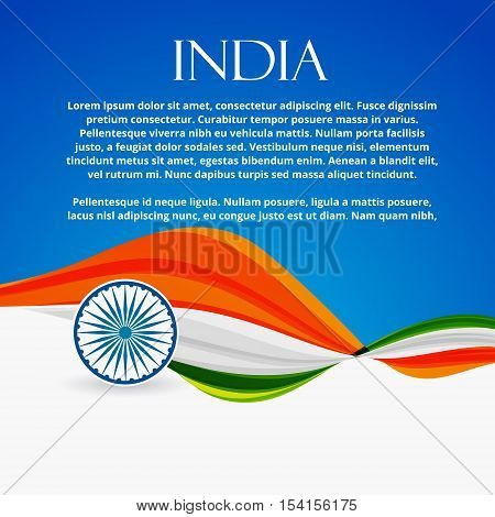 Indian Flag With Wave Style Vector Design Illustration