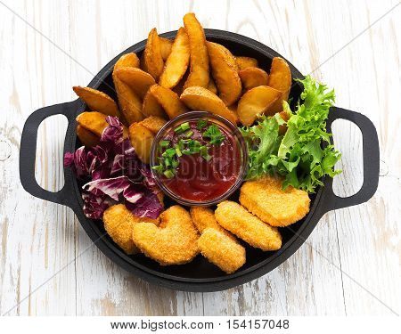 Greasy Fried Chicken, French Fries, Ketchup And Salad.