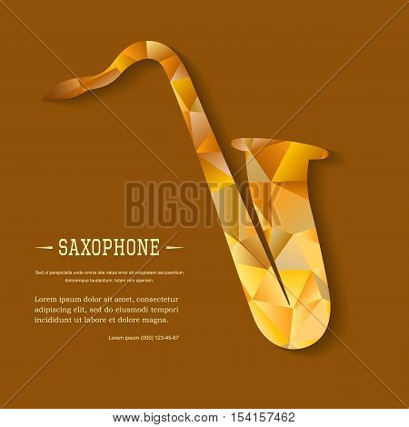 Music magazine layout flyer invitation saxophone design. Vector musical ornament illustration concept. Art instrument, poster, book, abstract element. Decorative triangular greeting card