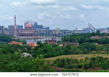 Panorama of the new administrative center of Malaysia in Putrajaya overlooking the artificial lake Putrayava