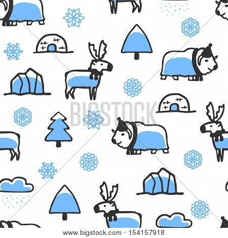Seamless pattern with cute doodle reindeer and musk-ox. North animals with snowflakes, igloo and iceberg. Funny deer and bull wear scarves