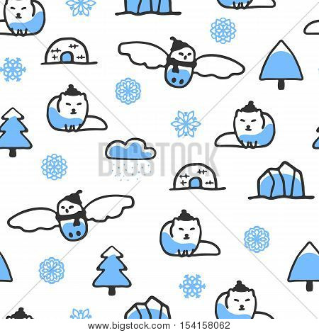 Seamless pattern with cute doodle arctic fox and snowy owl. North animals with snowflakes, igloo and iceberg. Funny owl and fox wear scarves