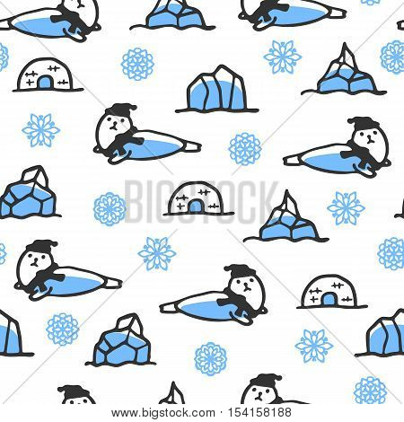 Seamless pattern with cute doodle seal. North animal with snowflakes, igloo and icebergs. Funny seal wears scarf