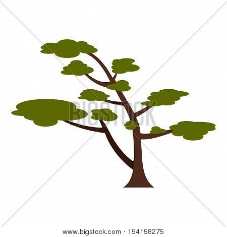 Tree with crown icon. Flat illustration of tree with crown vector icon for web