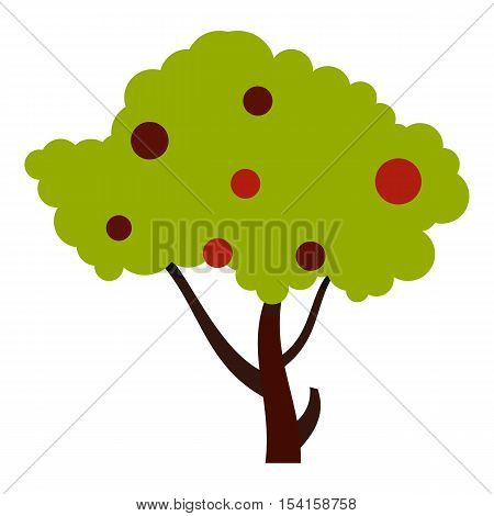 Tall tree with fruits icon. Flat illustration of tall tree with fruits vector icon for web