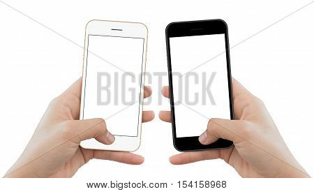 closeup hand hold phone isolated on white background mock-up phone matte black and gold color white screen