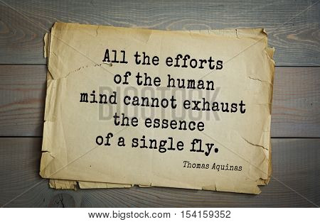 Top 40 quotes by Thomas Aquinas (1225- 1274) - Italian philosopher and theologian, digester orthodox scholasticism All the efforts of the human mind cannot exhaust the essence of a single fly.