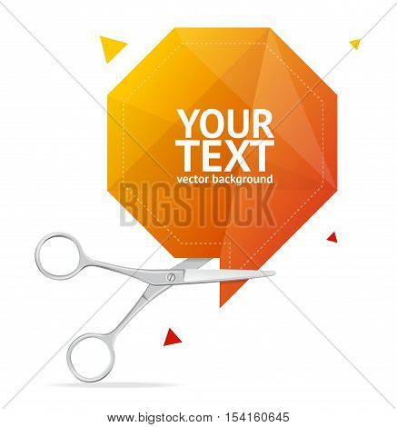 Scissors Orange Origami Speech Bubble Banner with Place for Your Text. Vector illustration