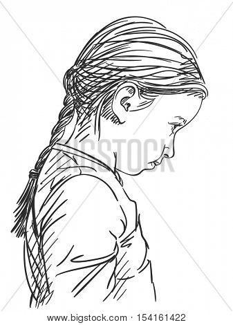 Thoughtful beautiful young girl, Vector sketch, Hand drawn illustration