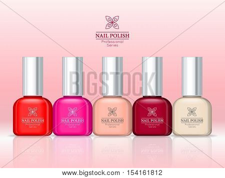 Nail polish professional series. Women accessories nail collection. Bright stylish modern colors. Glamour cosmetics. Manicure and pedicure products. Part of series of decorative cosmetics. Vector