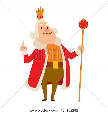 King cartoon illustration character. Fantasy royalty medieval king cartoon monarch fun comic. Fairytale prince costume king cartoon, different kingdom male vector character with gold crown.