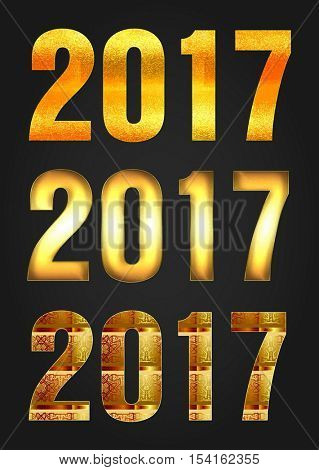 Golden 2017 Year vector typography
