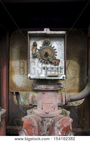 Mechanism of old gas pump. Old gas pump