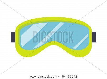 Ski mask isolated on white. Snowboard glasses. Sport equipment for winter recreation activities. Ski goggle glasses for extreme winter sport. Snowboard mask eyes protection object. Vector illustration