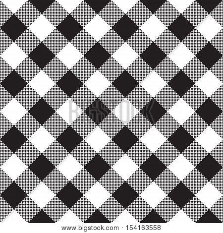 Black white checkerboard check diagonal textile seamless pattern. Vector illustration.