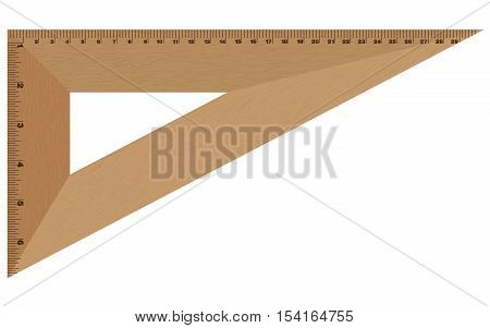 Wooden ruler isolated on white background. Wooden ruler.