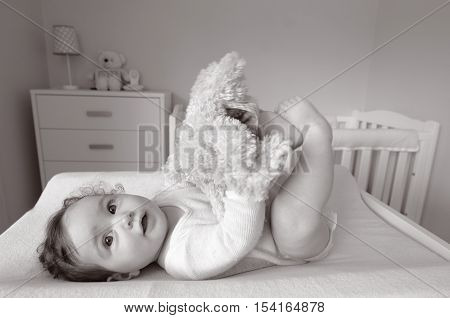 Baby Plays With Soft Toy