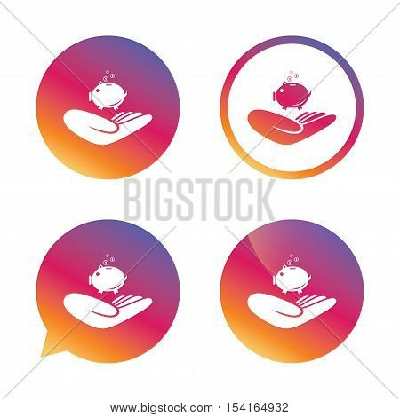 Donation hand sign icon. Hand holds Piggy bank. Charity or endowment symbol. Human helping hand palm. Gradient buttons with flat icon. Speech bubble sign. Vector