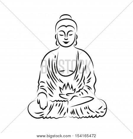 Buddha statue sketch style vector illustration. Vector Buddha in line hand drawn sketch style on white background