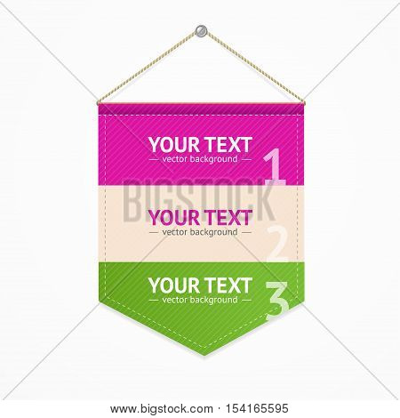 Menu Pennant Sport Concept Hanging on the Wall for Your Information. Vector illustration