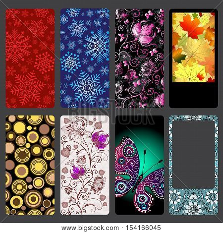 Set of colorful dust covers for mobile phone on dark gray vector eps10