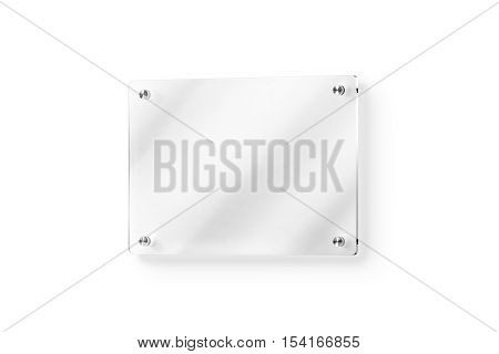 Blank glass name plate wall-mounted mockup clipping path 3d rendering. Clear acrylic signboard design mock up. Empty shiny nameplate holder fixed on white wall. Office door glassy signage template. poster