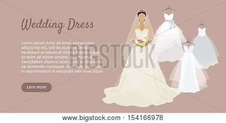 Wedding dress web banner. Fashionable bride shop poster. Celebration and shower, fabric and holiday, boutique and marriage, glamour woman, corset wear, luxury bouquet, princess. Bride dress. Vector