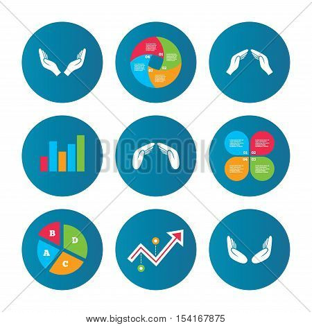 Business pie chart. Growth curve. Presentation buttons. Hands icons. Insurance protection signs. Human helping donation hands. Prayer meditation hands sybmols. Data analysis. Vector