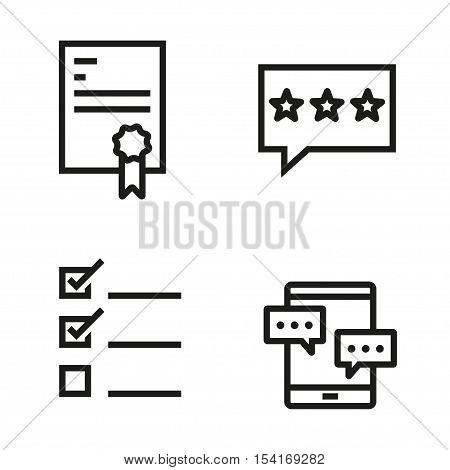 Vector black line testimonial icons set on white background