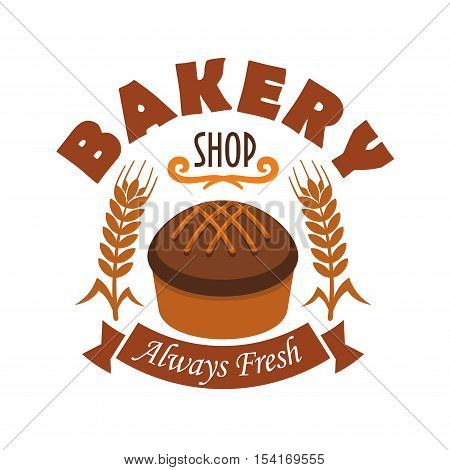 Bakery shop vector label with fresh baked rye bread loaf, wheat and rye ears, brown ribbon with text. Design template for bakery, pastry shop emblem